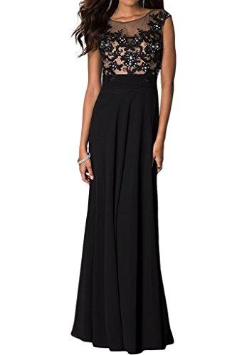 ivyd ressing Donna popolare punta applicazione a della linea Prom abito Fest vestito abito da sera Nero