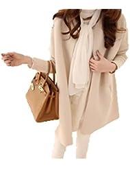 ZQQ Talla grande ropa de mujer para otoño/invierno de lana paño de lana y fertilizantes para aumentar la blusa llana de larga chaqueta de punto manga larga , meters of apricot , xxxl