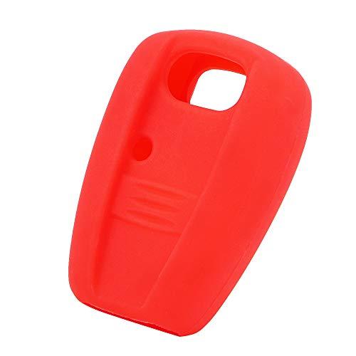 Holdream Touches 1Bouton Coque clé de Voiture Coque pour Fiat Coque en Silicone Rouge