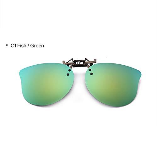 FBNSJA Kinder Polarisierte Clips Mit Kurzsichtigen Augen Sonnenbrille Jungen Mädchen Nette Kinder Polarisierende Sonnenbrille Clip Kinder EyewearC1 Fisch Grün