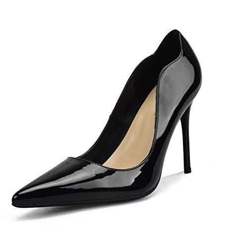 Patent Leder Knöchel Gurt (Lindarry D'orsay Pumps für Frauen Hohe Stiletto Heels Patent PU Leder Sexy Spitz Klassische Kleid Schuhe für Damen Mode (Color : Black 8 cm Heel, Size : 34 EU))