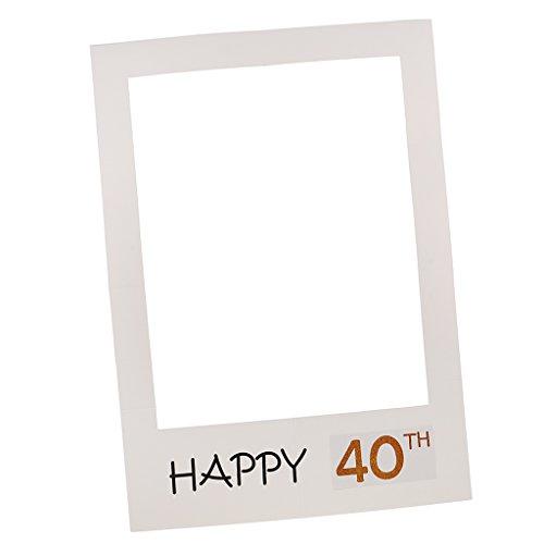 MagiDeal Photo Booth Cornice Per Selfie Photos Frame Foto Props Anniversario Compleanno Tanti Auguri 40 Anni 50th - 40th