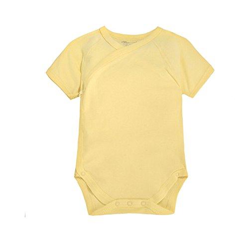 CuteOn Säugling Baby Sommerkleider Onesies Baumwolle Body- Kurzarm Kimono Style mit Side Snaps Hellgelb 12 Monate - Seite-snap-shirt