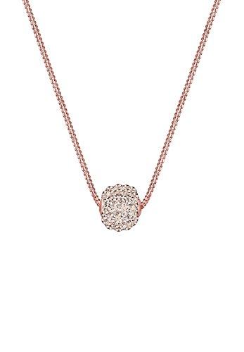Elli Damen Schmuck Halskette Kette mit Anhänger Basic Klassisch Glamourös Funkelnd Silber 925 Rosé Vergoldet Swarovski® Kristalle Braun Länge 45 cm