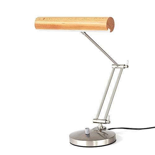Büro Tischleuchte LED Metall Verstellbare Tischlampe Chrom in 6W Tageslicht,Moderne Design Schreibtischlampe Holz Originelle Desktop Nachttisch Lampe Höhenverstellbar Drehbar 4000K - Chrom Verstellbare Hocker