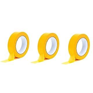 Premium Goldband 25 mm x 50 m | Profi Soft Tape UV-beständig | Lackierband Kreppband Feinkreppband Abklebeband (3)