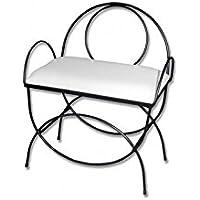 HOGARES CON ESTILO - Banqueta de forja nacional Modelo Asas y respaldo/604C color negro con asiento pretapizado en color blanco. Medidas 60 x 38 x 50 cm de alto (Varios colores disponibles) - Muebles de Dormitorio precios