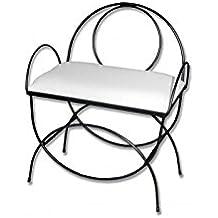 HOGARES CON ESTILO - Banqueta de forja nacional Modelo Asas y respaldo/604C color negro con asiento pretapizado en color blanco. Medidas 60 x 38 x 50 cm de alto (Varios colores disponibles)