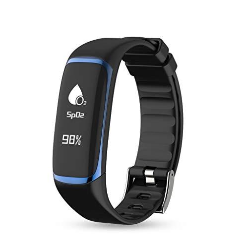 AnSuu Smart Watch P9 Intelligente Armband Herzfrequenz Blutsauerstoffsättigung HRV Schlafüberwachung Bluetooth Wasserdichte Uhren (Farbe : Blau)