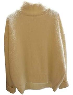 Simple-Fashion Otoño y Invierno Mujeres Cuello Alto Suéter Moda Slim Tejer Sweaters Jumper Blusa Casual Manga...