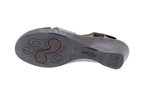 Scarpe Da Donna Comfort In Pelle Piesanto 1861 Sandalo Con Plantare Removibile Confortevolmente Ampio Negro-acero