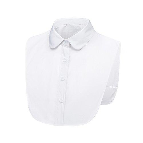 LK LEKUNI LeKuni Frauen Kragen Abnehmbare Hälfte Shirt Bluse in Baumwolle Weiß/Schwarz/Jeans (White_YL)