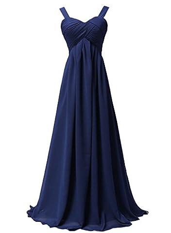 Azbro Women's Empire Waist Ball Gown Prom Bridesmaid Maxi Dress, Navy XXXXL