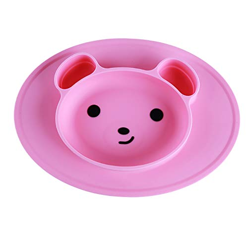 geformte Plattenmatte für Baby-Saug Rutschfeste Schale kleine Matte Infant Kinder Mahlzeit Obst Tablett Kleinkind Tischset, rosa ()