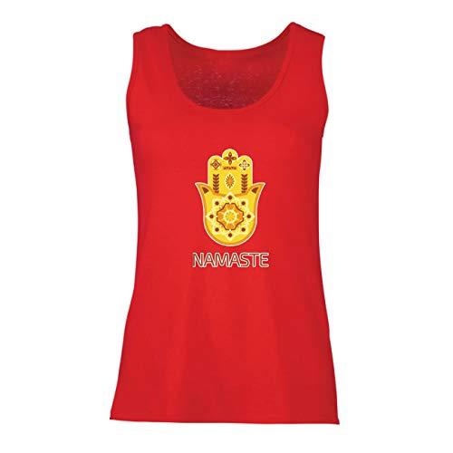 lepni.me Damen Tank-Top Namaste Hmasa, Spirituelles Amulett, Meditation, für Yoga-LiebhaberInnen (Small Rot Mehrfarben) (Top-film-zeichen Für Halloween)
