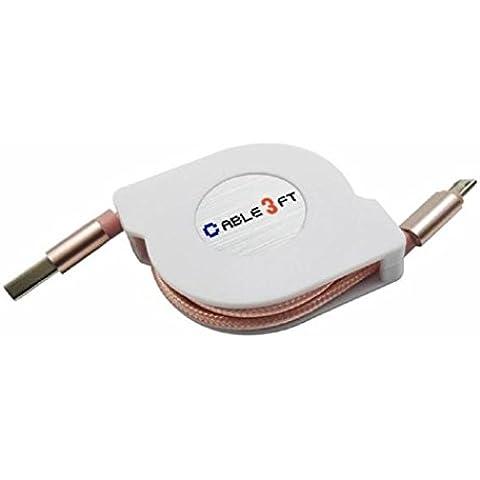 Sannysis V8 Micro USB to USB Sync cable retráctil de datos de carga, color oro rosa