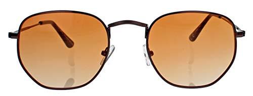 Kleine schmale Retro Sonnenbrille Damen Herren Metal Frame Lennon Stil Metallrahmen oval round Pilotenbrille RM48 (M2: Copper/Orange)
