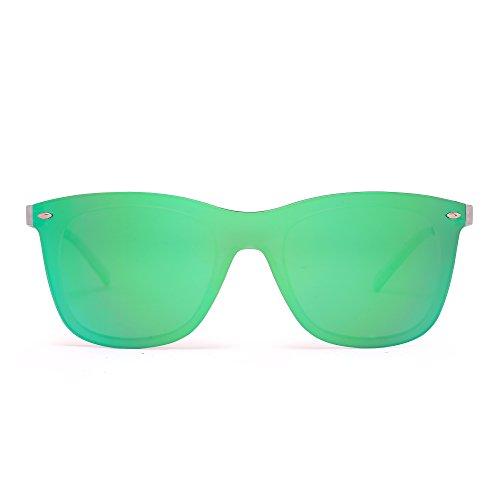 Randlos Spiegel Sonnenbrille Ein Stück Rahmenlos Brille Damen Herren(Transparent/Spiegelgrün)