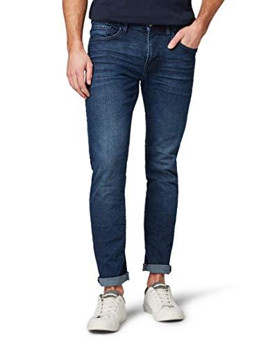 TOM TAILOR Denim Herren Slim Jeans Super Piers Mit Niedriger Leibhhe, Blau (Used Dark Stone Blue 10120) W33/L32 (Herstellergröße: 33)