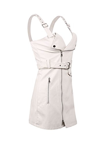 Simplee Apparel Womens Autumn Sexy PU Leather Bodycon Mini Dress With Belt (Beige,XL= UK 12)