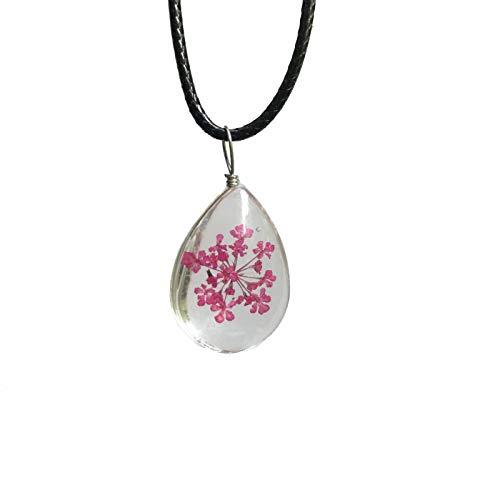 Serrale Damen Mode Halskette Sternenklare Pflanze Schnee Perlen Handgemachtes Glas Echte Blume Getrocknete Blume Halskette Perfekt Geeignet Als Geschenk, 10 -