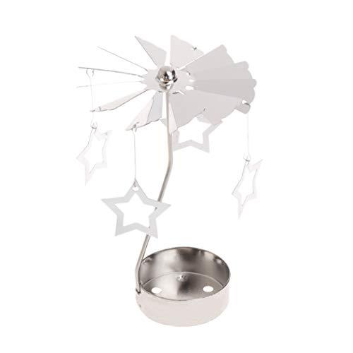 Yanhonin Kerzenhalter, drehbar, Metall, Karussell, perfekt für Weihnachten/Hochzeit, Innendekoration 03