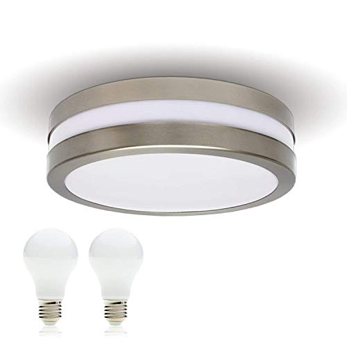 LED Decken-leuchte Bad-Lampe Aussen-Leuchte PROVANCE E27 230V IP44 inkl. 2x LED 10W Warmweiss LED Lampe Wandleuchte Wandstrahler Leuchte Wohnzimmerlampe für Badezimmer Küche Badlampe Badleuchte