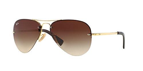 Ray-Ban RB3449 Aviator Sunglasses 59 mm (Gold Metal Frame/Brown Gradient Lens, Brown Gradient)
