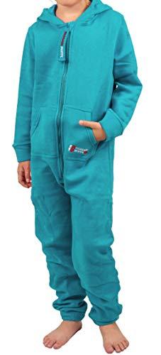Gennadi Hoppe Kinder Jumpsuit - Jungen, Mädchen Onesie Jogger Einteiler Overall Jogging Anzug Trainingsanzug, türkis,98-104
