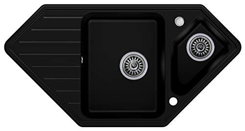 Granitspüle mit Siphon Monaco Einbauspüle Eckpüle Schwarz Küchenspüle Unterschrank Küche ab 80cm Antibakteriell Spüle aus Granit mit Ablaufgarnitur Drehexcenter und Überlauf von Primagran