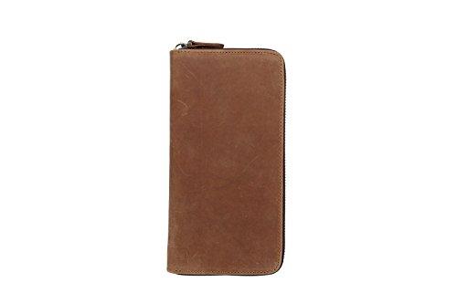 BAIGIO Herren Retro Geldbörse Geldbeutel Kreditkartentasche Hochformat Börse aus echtem Leder Taschen,Dunkelbraun Braun