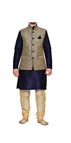 MAG Men's Silk Kurta Pyjami with Jacket Grey_42