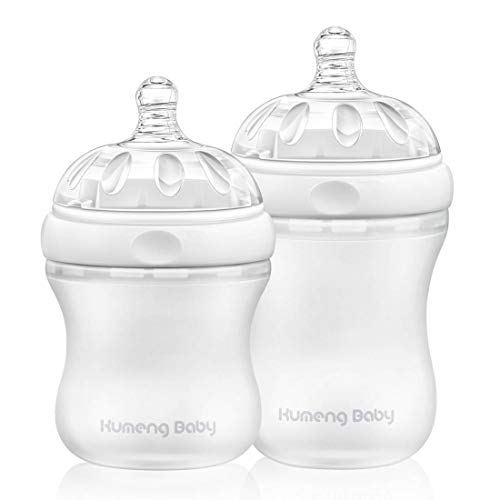 Bright love BPA Free Library Mask Baby Bouteille en Silicone Set 160mL + 230mL,White