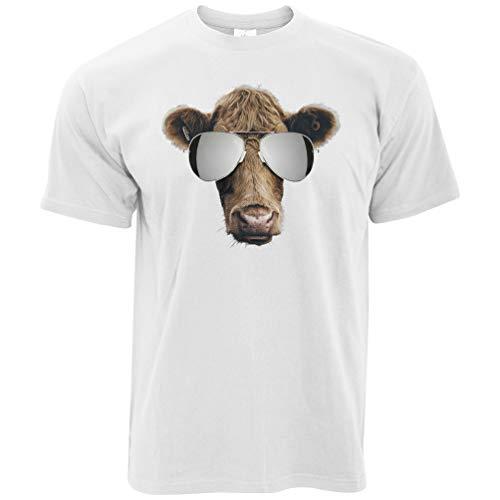 Summer Art T-Shirt Kuh-tragende Flieger-Sonnenbrille White Large
