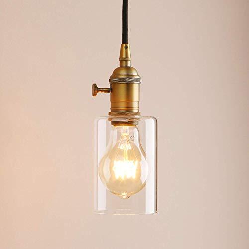 industrielle Vintage moderne Edison hängen Deckenpendelleuchte Loft Bar Küche Insel Lampe Leuchte Kronleuchter Klarglas Schatten E27 (antik) (Light Custom Switch)