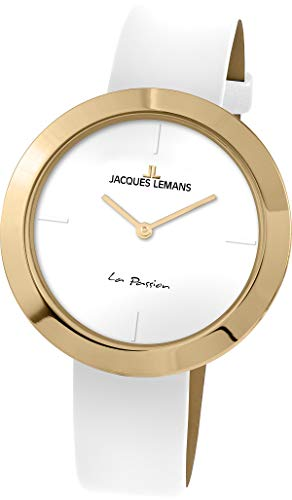 Jacques Lemans La Passion Femme 37mm Bracelet Cuir Blanc Quartz Montre 1-2031F
