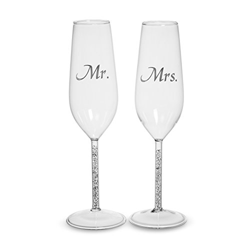 "Abbott Collection ""Mr & Mrs"" Toasting Flutes Clear (Set of 2)"
