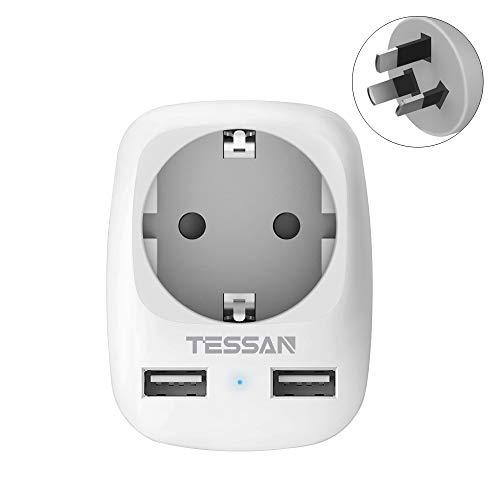 TESSAN Reisestecker Australien Adapter China Deutschland Stecker mit 2 USB(2.4A), Steckdosenadapter Reiseadapter Stromadapter für Neuseeland Argentinien Wand Ladegerät, Reiseadapter Australien