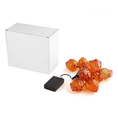 Footprintse Halloween-Lichterketten Halloween-Lichter 1.9M Schädel-Form-Heller Streifen mit Batterie-Kasten -