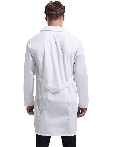 Kittel Weiß Damen Herren Laborkittel 100% Baumwolle Arzt Kostüme Apotheker Mantel Reverkragen mit Taschen 7 Größe(XS-3XL) - 7