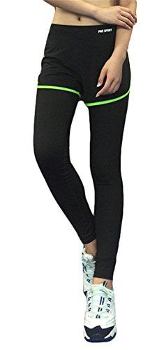 GoodNight Pantaloncini sportivi femminili di Yoga con le calzamaglia Leggings verde