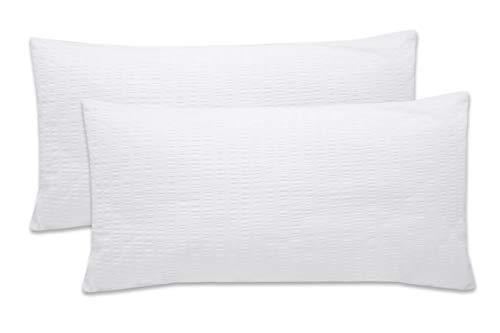 ZOLLNER Juego de 2 Fundas de Almohada 40x80 cm, Blancas, algodón 100%