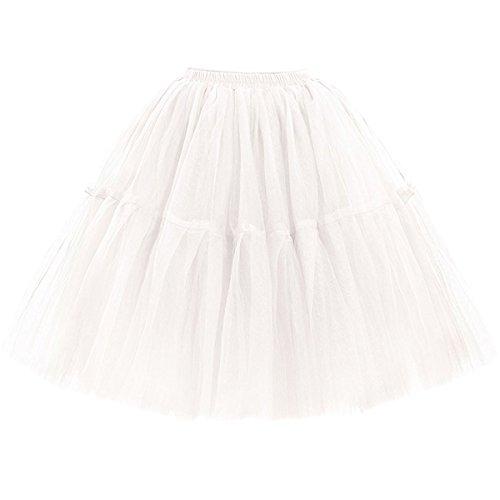 Omela Tüllrock Damen Vintage Tutu Rock Tanzrock Unterrock Petticoat Prinzessin Rock (Weiß,66-100)
