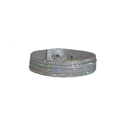 Armband PVC und Strass Steingarten Anhängern–Verschluss Druck–Farbe Silbergrau