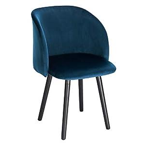 WOLTU Esszimmerstühle BH121bl-1 Küchenstuhl Wohnzimmerstuhl Polsterstuhl Design Stuhl mit Armlehne, Sitzfläche aus Samt…