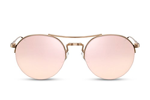 Cheapass Runde Sonnenbrille Verspiegelt Rosé-Gold UV-499 Metall Damen Herren