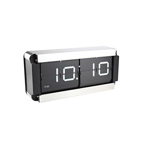 Moyi Flip Clock Klappzahlenuhr Retro Nostalgie Design Uhr XXL Anzeige Farbwahl Tischuhr Edelstahl 24 Stunden, White -
