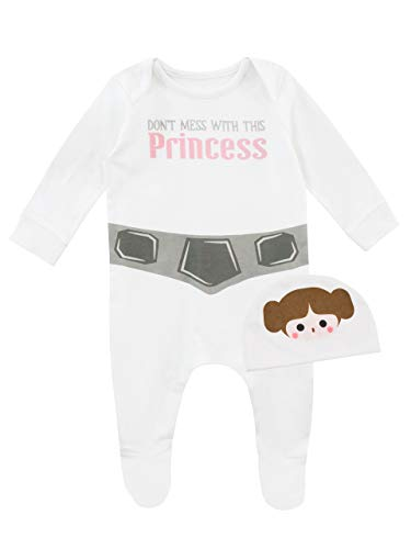 Star Wars Baby Mädchen Prinzessin Leia Schlafstrampler und Mütze Weiß 56-68
