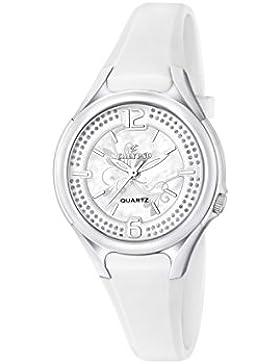 Calypso Damen Quarzuhr mit Silber Zifferblatt Analog-Anzeige und Weiß Kunststoff Gurt k5575/1