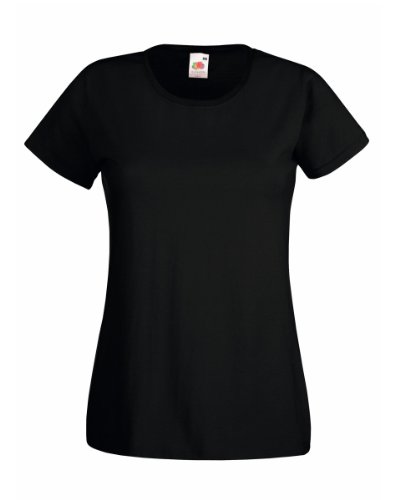 Fruit Of The Loom Lady-Fit Valueweight Damen T-Shirt (L) (Schwarz) L,Schwarz